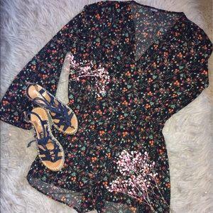 Floral Long Sleeved Romper